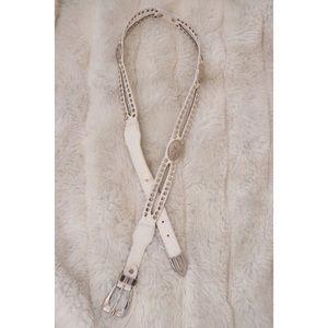 Vintage White Silver Studded Concho Western Belt